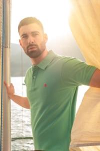 Urban Button | Moda Hombre | Polo Piqué Algodón combinado - Verde Agua